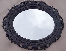 Cadre d'image ovale noir baroque shabby grand photo ancien 58x68 avec verre