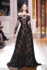 New Long Sleeve Black A-Line lace bead Wedding Dress Custom Size 6 8 10 12 14 16
