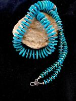 Stunning! Sterling Silver Kingman Turquoise Necklace Pendant Navajo Pearls Rare