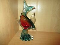 """Large Glass Art Fish Red and Green and Clear 11 1/2"""" Beauty"""