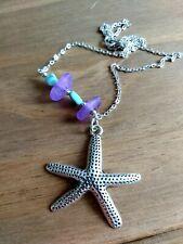 Purple sea glass, larimar & chunky starfish pendant silver necklace