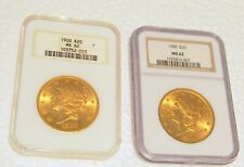 SET OF 2  MS62   $20.00  CIRCA 1900 GOLD  US  COINS NGC  CERTIFIED