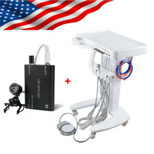 US Portable Dental Delivery Unit Mobile Cart Syringe Foot pedal +LED Head Light