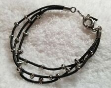 Fossil Beaded Bracelet, Silver and Black