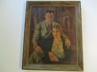 ANTIQUE OIL PAINTING 1930'S PORTRAIT ESTATE MANSION BY MIGUEL ALONSO MACHADO OLD