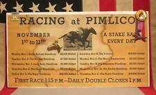 Vintage 1950s Pimlico Horse Race Course Track Poster & Pins Original Preakness