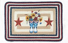 BRAIDED HAND STENCILED RECTANGLE PATCH RUG By EARTH RUGS--BOOTS, FLOWERS, STARS