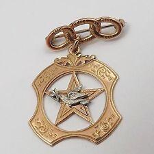 Victorian 10K Gold Order Of Rebekah Odd Fellows Dove 3 Rings Brooch Pin