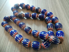 34 PC AFRICAN VENETIAN CHEVRON TRADE BEADS STRAND AFRICA GLASS 6 LAYER NECKLACE