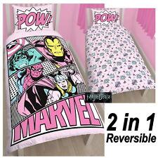 MARVEL COMICS GIRLS PASTELS SINGLE DUVET COVER SET GIRLS PINK SUPER HERO BEDROOM