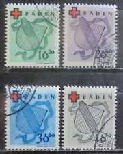 ALLIED OCCUPATION 1949 Baden, Red Cross Fund, Complete Set of 4 Used