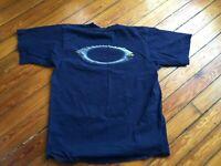 Vintage Oakley Software Sunglasses T Shirt Men size L Blue Big Logo