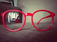 Red Round Oversized Retro Geek Nerd fashion Glasses 60s 80s