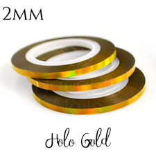 2mm HOLO GOLD Nail Art Holographic Striping Tape - Line Sticker Roll Rainbow