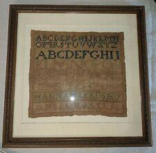 Antique Sampler Needlework Alphabet Numbers Framed Hand Stitched Dated 1819