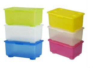 IKEA Glis Storage Boxes With Detachable Lids,Pack Of 3,17x10 cm,Several Colours