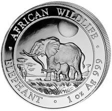 2011 Somalia Elephant 100 Shillings Solid Fine .999 Silver 1oz Coin