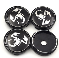 4pcs 60mm Black Abarth and 500 Car Emblem Wheel Center Hub Cap Wheel Badge