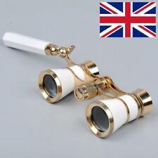 Brass White 3x25 Opera/Theater Glasses Binoculars Coated Lens W/handle