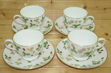 "Wedgwood Wild Strawberry (4) Cups, 2¾"" & (4) Saucers, 5¾""  Leigh Shape, (Lot #1)"