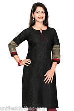UK STOCK - Women Black Indian Pakistani Shirt Kurta Cotton Kurti Tunic 294