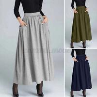 Women Pocket High Waist Dress Jersey Gypsy Ladies Long Maxi Skirt Plus Size 8-26