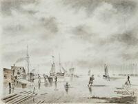 Winterlicher Hafen mit Segelschiffen, 19. Jahrhundert, Aquarell