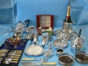 Nice Large Job Lot Of Antique Silver Plated Items Vintage Items & Plated Cutlery