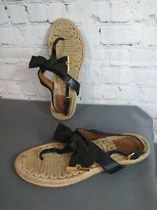 GUC women's TORY BUTCH black BOW slingback JUTE espadrille sandals - SIZE 7 1/2