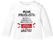 Baby Langarmshirt mit Spruch lustig meine Preisliste Bio-Baumwolle Babyshirt