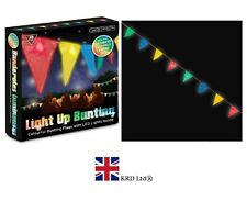 LIGHT UP BUNTING 8 LED Flags Kids Birthday Caravan Tent Festival Party T21830 UK