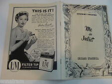 Chicago Stagebill 1954 Me & Juliet,  Ray Walston Bill Hayes  playbill