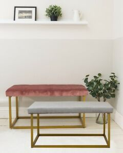 Velvet Upholstered Bed End Lounge Hallway Window Seat Sofa Bench Pink Grey