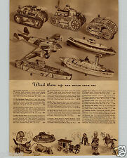 1942 PAPER AD Wind Up Sparkling Toy Battleship Climbing Army Tank