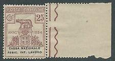 1924 REGNO PARASTATALI CASSA NAZIONALE LAVORO 25 CENT LUSSO MNH ** - M38-4