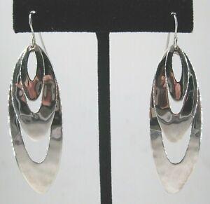 "RLM Studio Sterling Silver Earrings 3 Ovals Drop Dangle Robert Lee Morris 2-1/2"""
