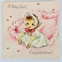 Vintage 1950s Hallmark New Baby Girl Greeting Card Scrapbooking Crafts