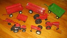 Lot of 8 Ertl Red Diecast Farm Tractors Implements