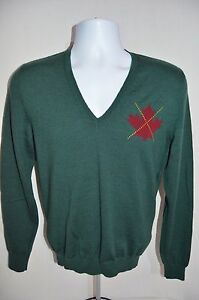 DSQUARED D2 Man's Wool Maple Leaf V-Neck Sweater NEW  Size Small   Retail $445
