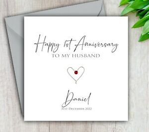 Anniversary Card Husband, 1st 2nd 3rd 5th 10th ANY Year Personalised Handmade