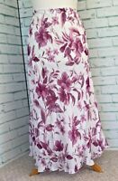 MOSAIC Pink Floral Midi Skirt Sz 16 UK Pull On Style / b33