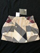 Bnwt Authentic Burberry Plaid Checkered Skirt Buttons Pockets 4y
