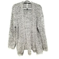 Womens Kensie Grey Gray Open Front Eyelash Sweater Cardigan Medium