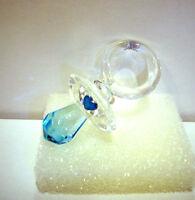 bomboniera ciuccio cristallo vetro cuore azzurro rosa nascita