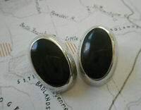 Vintage Oval Sterling  Mexico Taxco Clip On Inlay Black Onyx Earrings  RE22-7