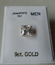 1 x 9ct GOLD created Diamond Stud Earring 5mm Square Men's Boy's Women's UK Made