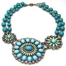 Turquoise Crystal Pinwheel Chunky Bib Statement  Necklace