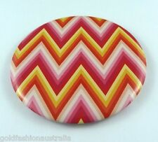 Cosmetic Mirror Compact Makeup Lightweight Portable Pink Red Yellow Zigzag