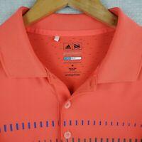 ADIDAS PUREMOTION Size Medium Mens Golf Casual Polo Shirt Bright Orange Coolmax