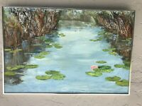 """VINTAGE 1980s BY BURR OIL ON CANVAS WATER LILLIES IN FLOWER 36"""" X 24"""""""